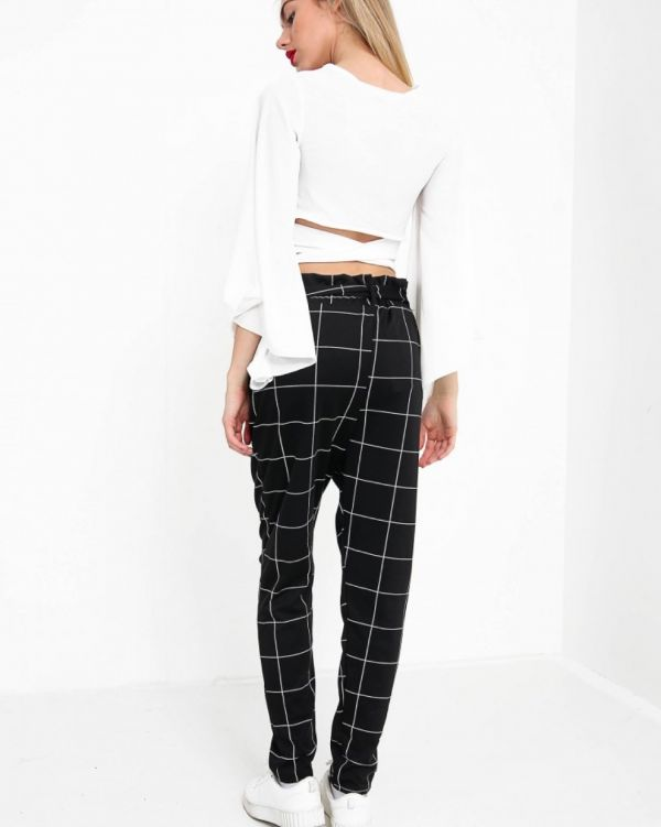 Ella Grid Check Paper Bag Trousers In Black