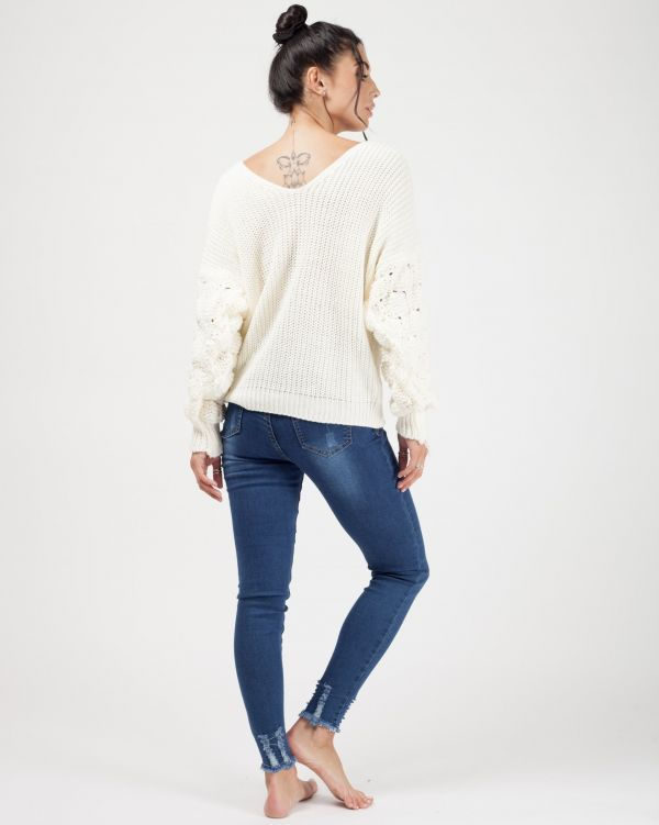 Soraya Bobble Sleeve Twist Front Knitted Jumper In Cream