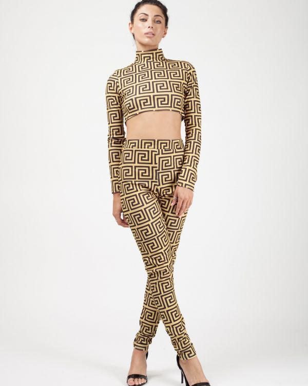 Althea Print Crop Top & Trouser Co-ord In Gold