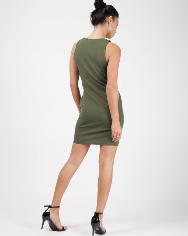 **Sophie Kasaei** Halle Cut Out String Front Bodycon Dress In Khaki