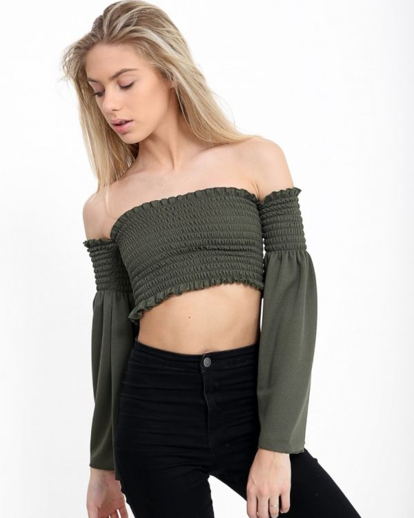 Lia Long Sleeve Shirred Bardot Top In Khaki