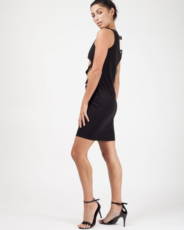 **Sophie Kasaei** Halle Cut Out String Front Bodycon Dress In Black