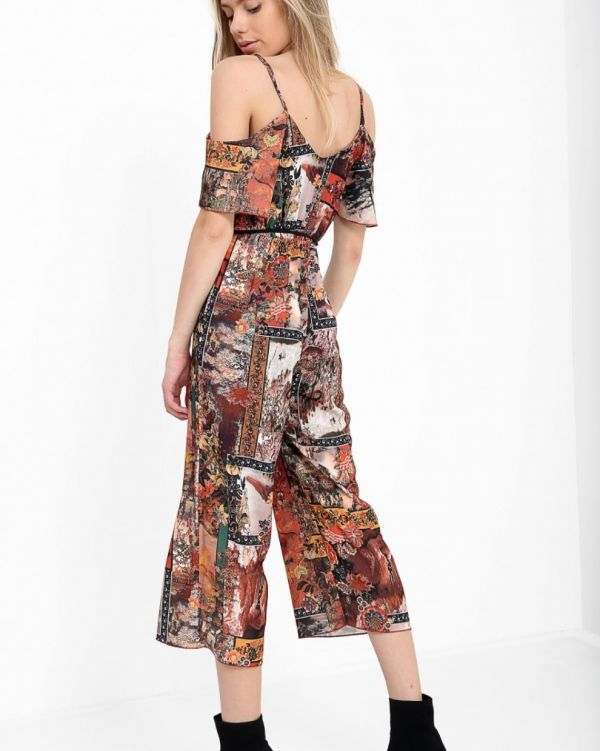 Ridika Abstract Culotte Jumpsuit In Rust
