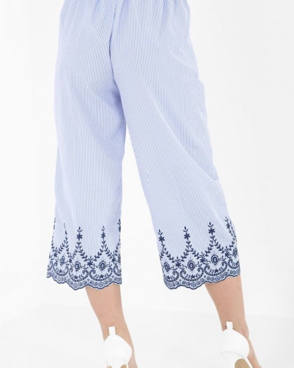 Ava Striped & Embroidered Culottes In Blue