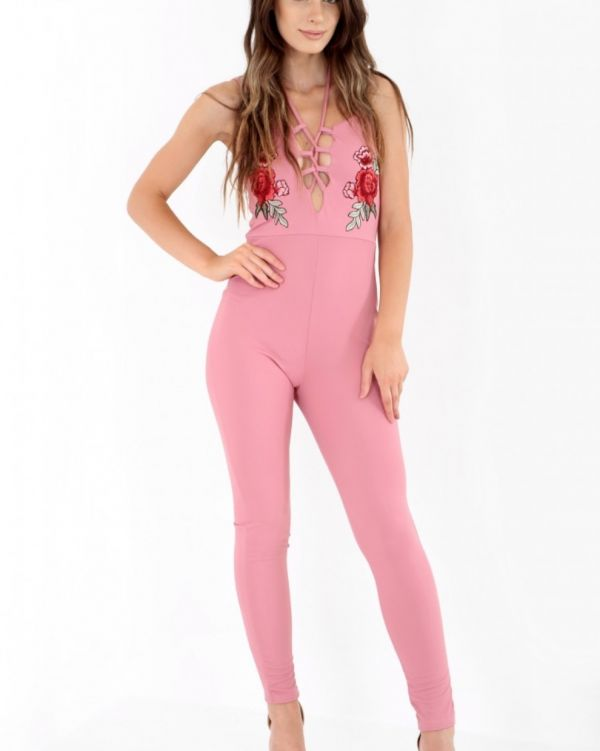 Evelyn Floral Embroidered Jumpsuit In Rose
