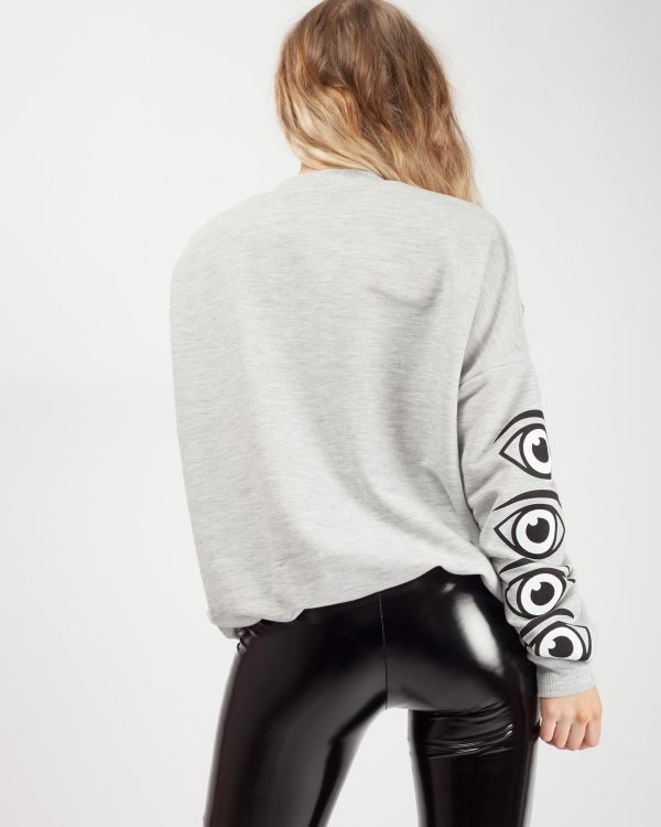 Lissy Eye Printed Oversized Sweatshirt Jumper in Grey