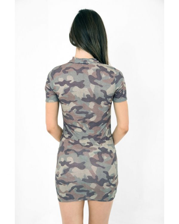 Donna Raw Power Printed Lace Up Eyelet Camouflage Dress