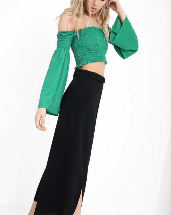 Janne Wrap Over Culotte In Black