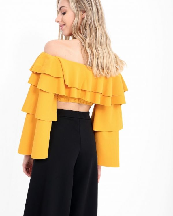 Chiara Layered Frill Crop Top In Mustard