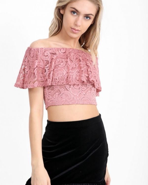 Ivalina Lace Frill Bardot Top In Rose