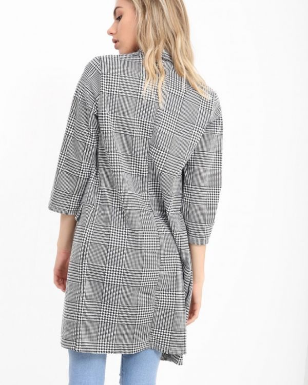 Catherine Houndstooth Duster Coat In Monochrome