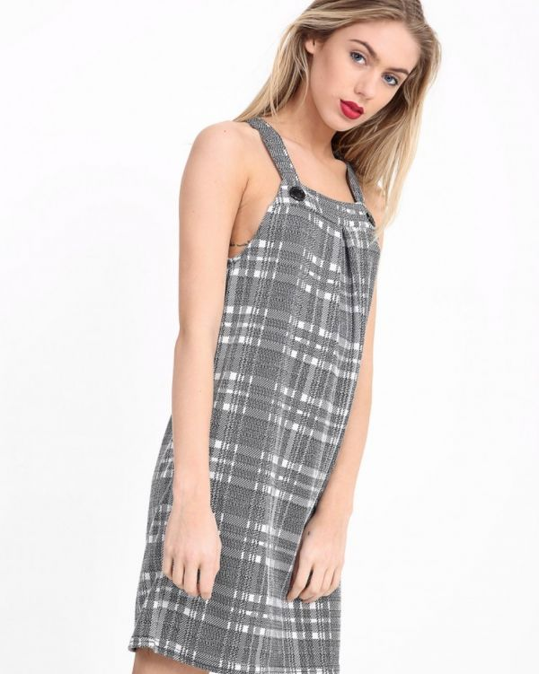 Annie Check Pinafore Dress In Grey