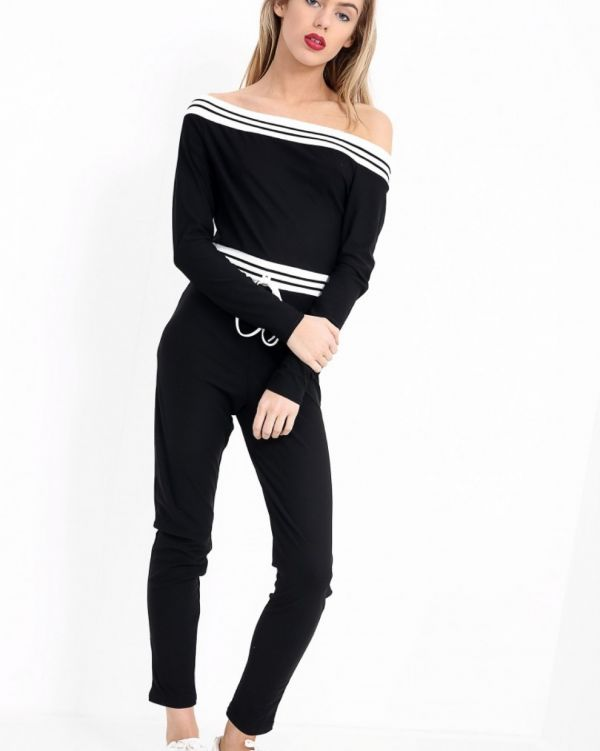 Annabelle Striped Bardot Jumpsuit In Black