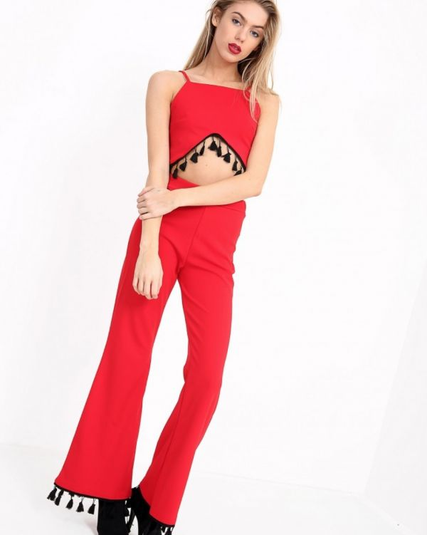 **Kady McDermott** Bilquis Contrast Tassel Co Ordinate Set In Red