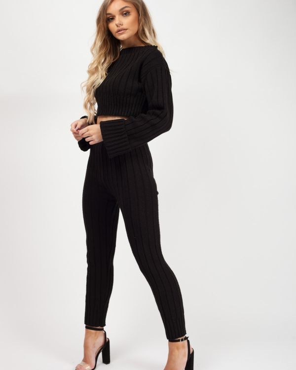 Kalianna Ribbed Knitted Crop Top & Bottom Loungewear In Black