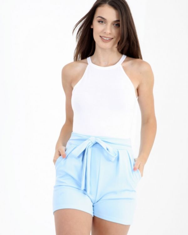 Larna Tie Knot Belted Shorts In Blue