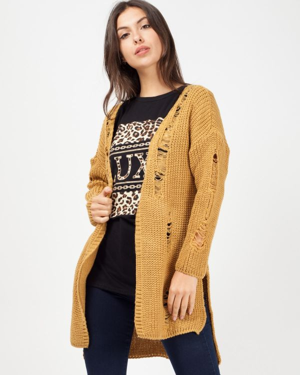 Kalea Distressed Knitted Open Cardigan In Mustard