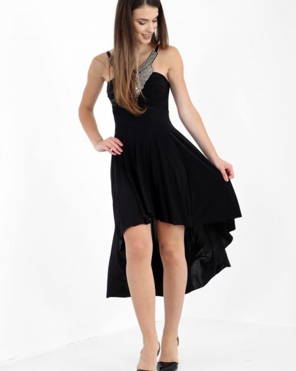 Patrcija Studded High Low Dress In Black