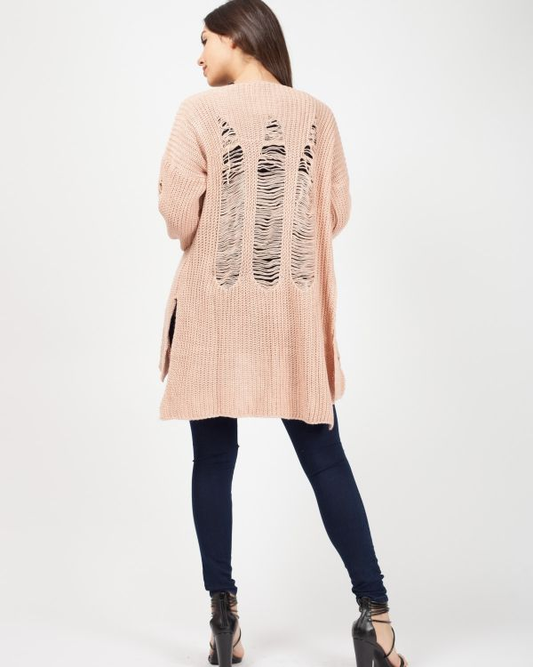 Kalea Distressed Knitted Open Cardigan In Nude