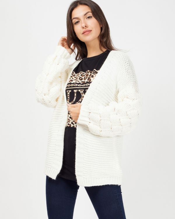 Naila Bobble Sleeve Knitted Cardigan In Cream