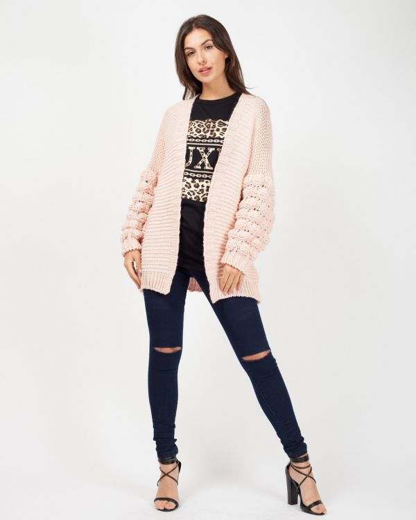 Naila Bobble Sleeve Knitted Cardigan In Blush