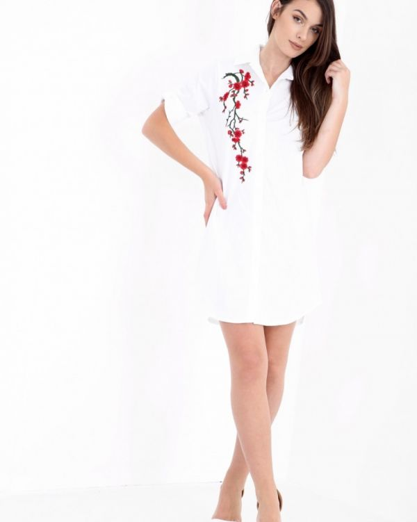 Reena Floral Embroidered Shirt Dress In White