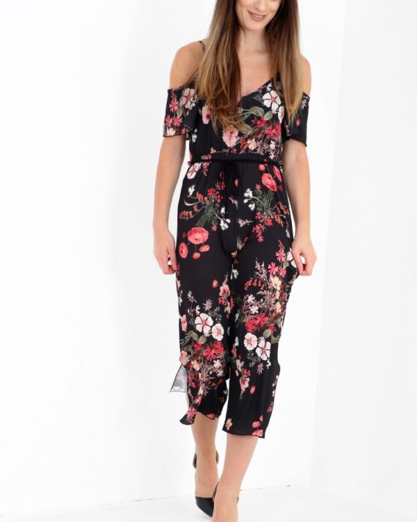 Albany Floral Culotte Jumpsuit In Black