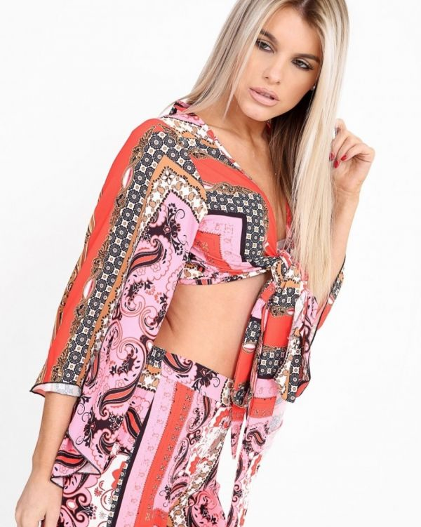 **Kady McDermott** Eleanor Mystic Print Bell Sleeve Crop Top In Pink