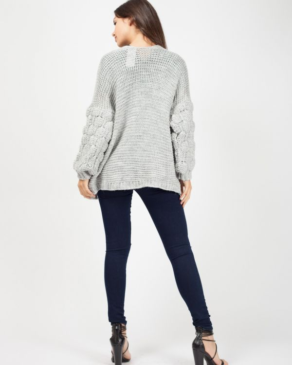 Naila Bobble Sleeve Knitted Cardigan In Grey