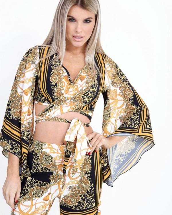 **Kady McDermott** Eleanor Mystic Print Bell Sleeve Crop Top In Yellow