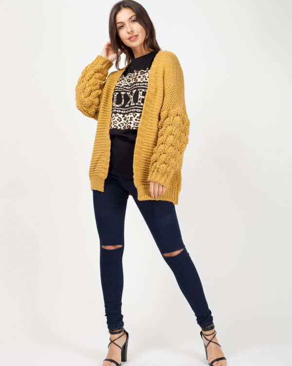 Naila Bobble Sleeve Knitted Cardigan In Mustard