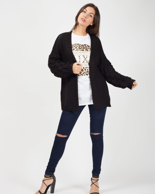 Naila Bobble Sleeve Knitted Cardigan In Black