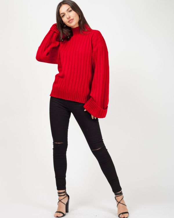 Karlie Turtle Neck Knitted Jumper In Red
