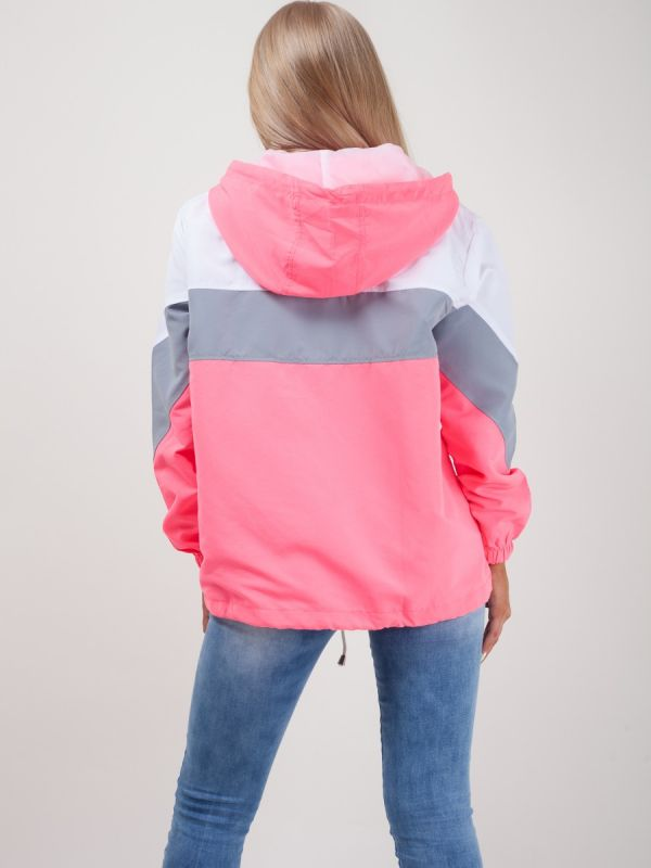 Leilani Colour Block Festival Jacket In Neon Pink