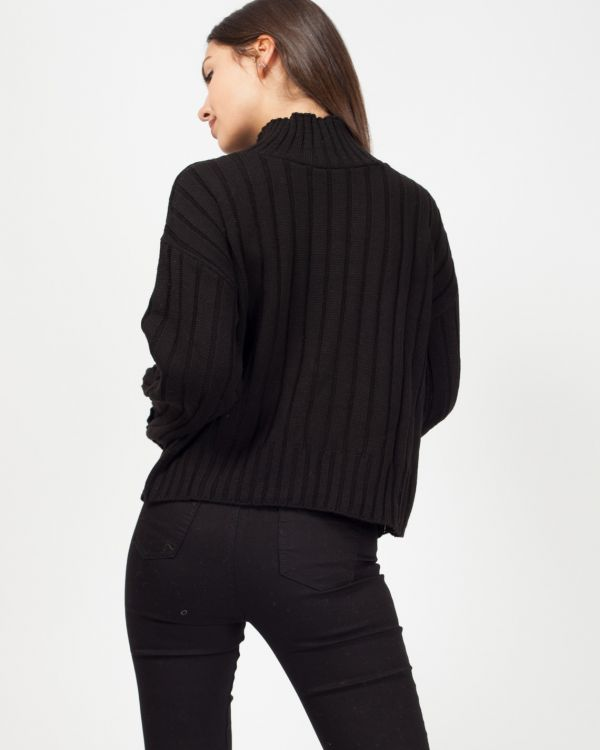Karlie Turtle Neck Knitted Jumper In Black