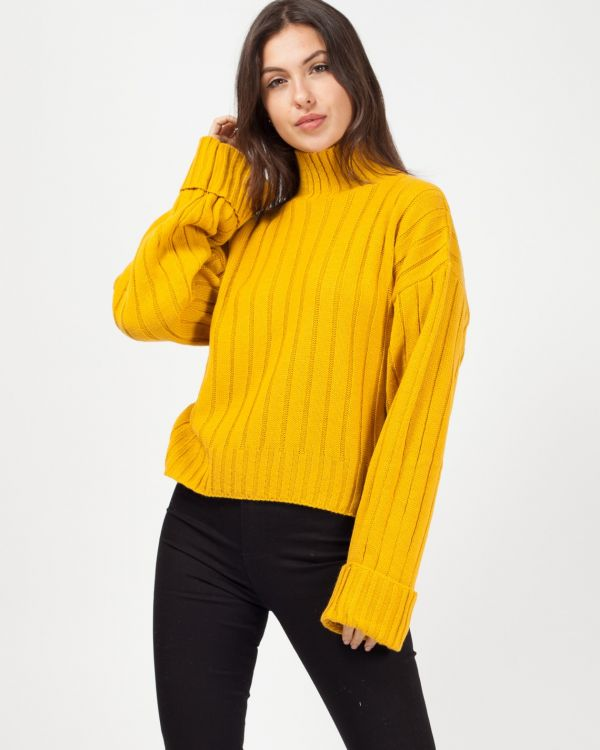 *Kady McDermott* Karlie Turtle Neck Knitted Jumper In Mustard