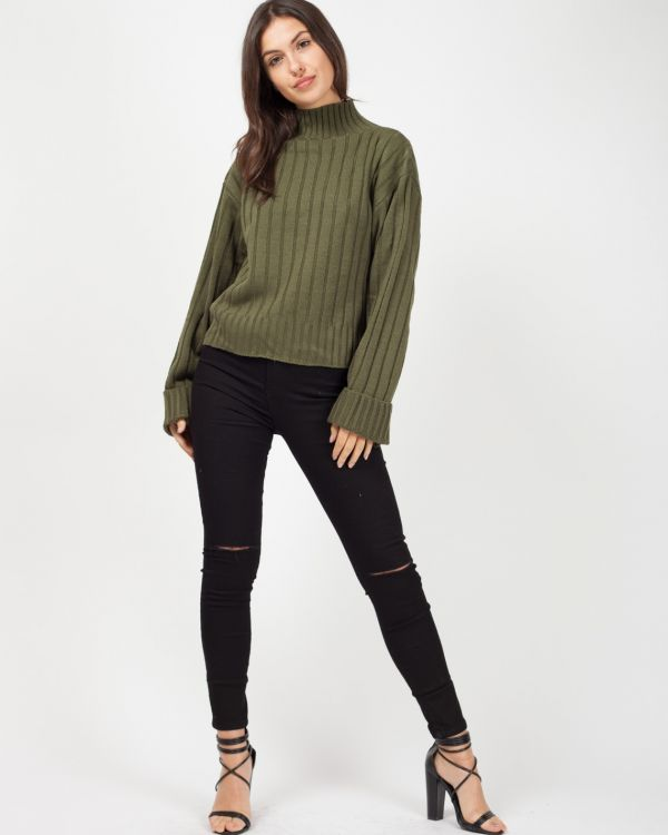 Karlie Turtle Neck Knitted Jumper In Khaki