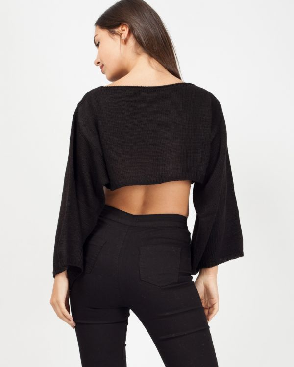 Tess Oversized Cropped Knitted Jumper In Black