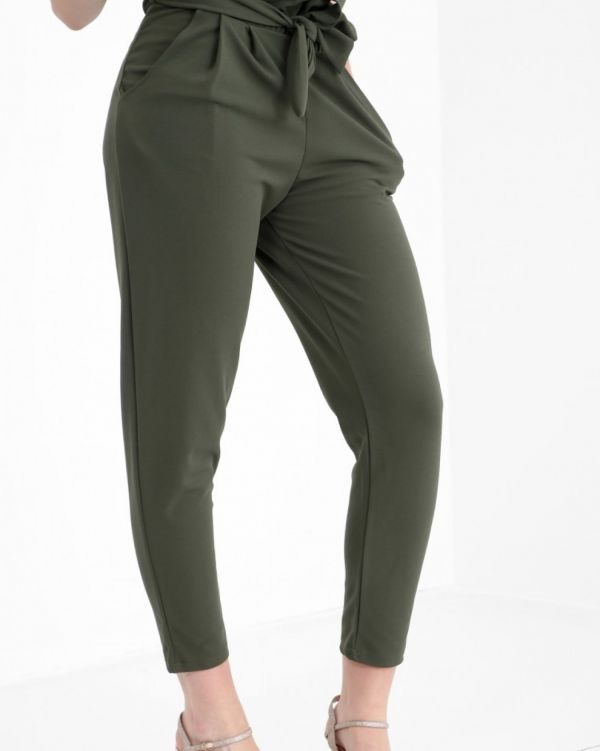 Amanna Paper Bag Style Trousers In Khaki