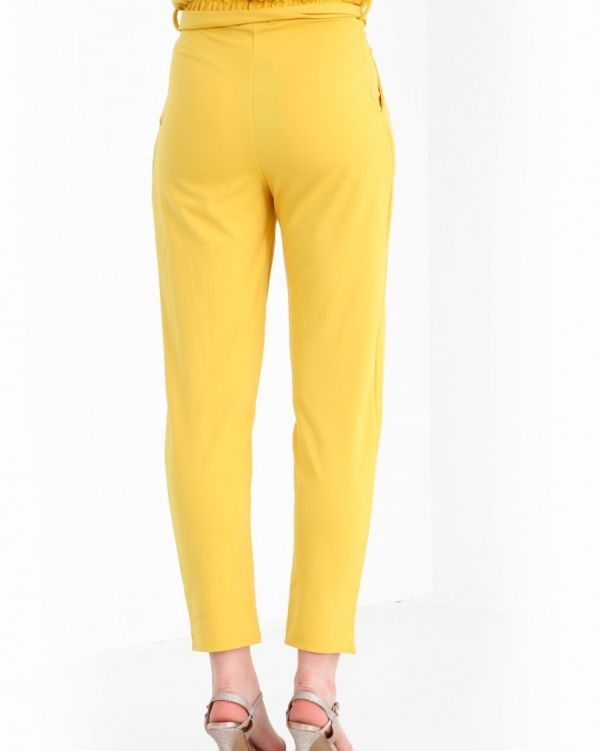 Amanna Paper Bag Style Trousers In Mustard