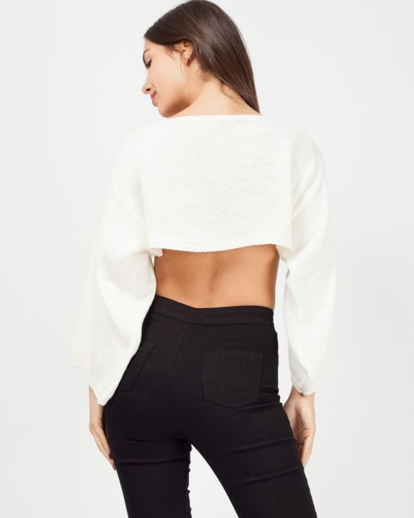 Tess Oversized Cropped Knitted Jumper In Cream