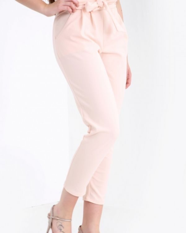 Amanna Paper Bag Style Trousers In Nude