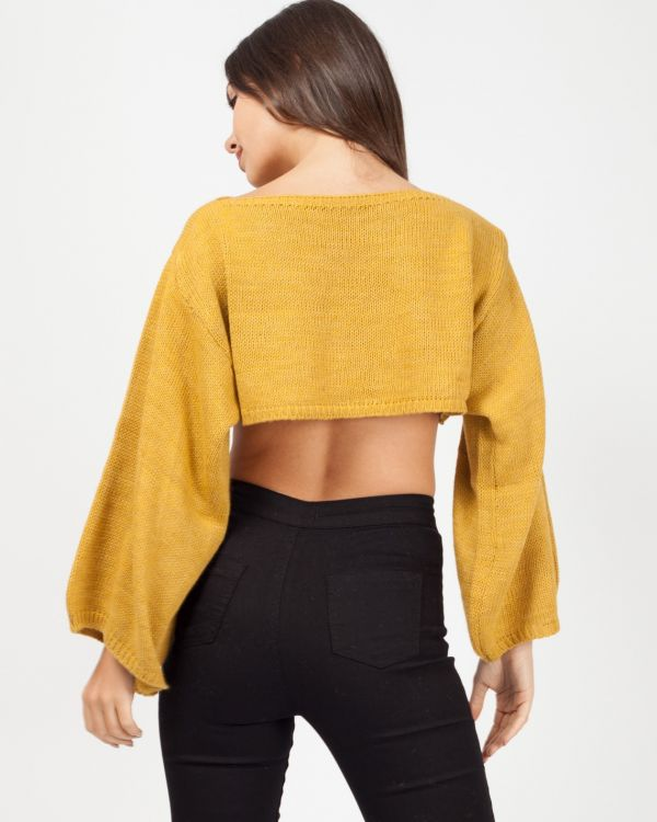Tess Oversized Cropped Knitted Jumper In Mustard