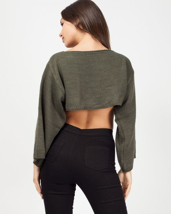 Tess Oversized Cropped Knitted Jumper In Khaki