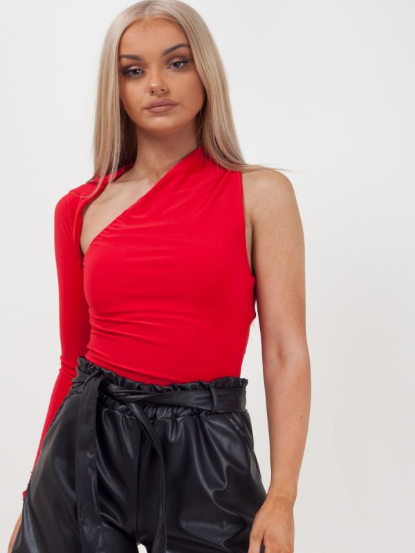 Shanice One Sleeve Bodysuit In Red