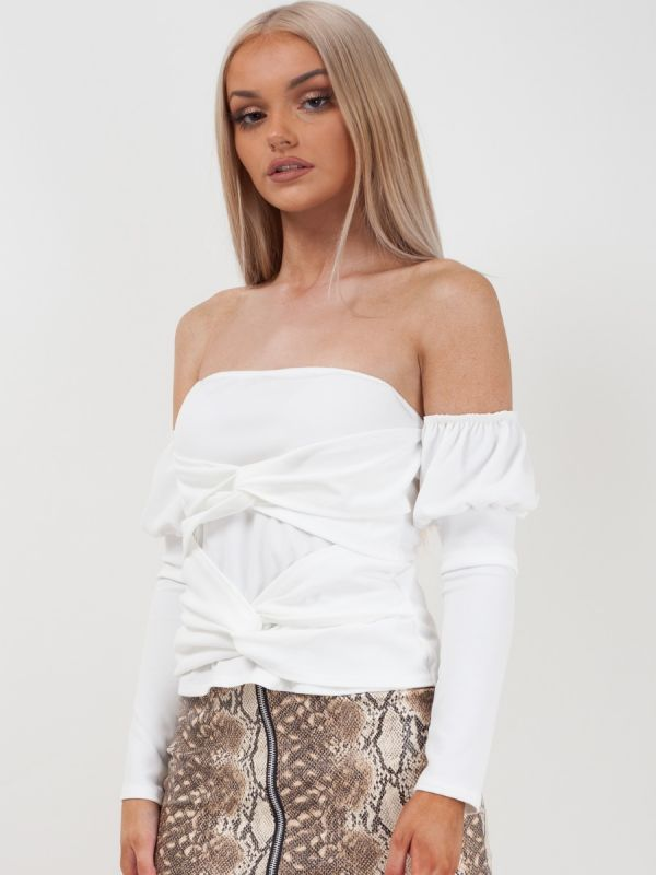 Lucille Cross Knot Front Bandeau Top In White