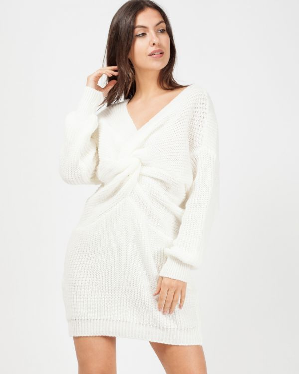 Jamila Twist Front Knitted Jumper Dress In Cream