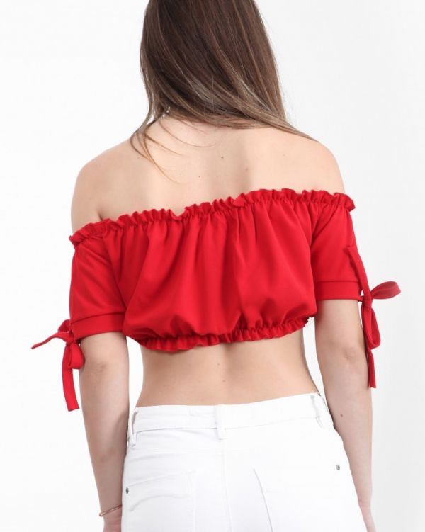 Georgina Ruched Bardot Crop Top In Red