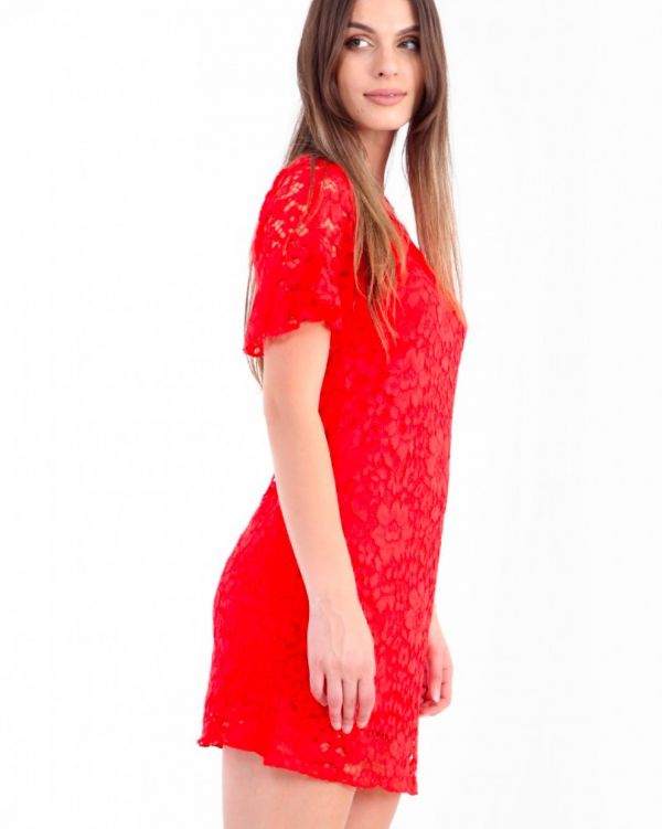 Nikki Crochet Lace Mini Dress In Red