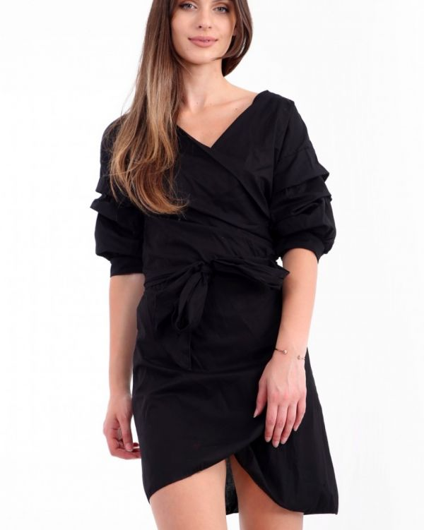 Kamilla Wrap Over Tie Knot Dress In Black